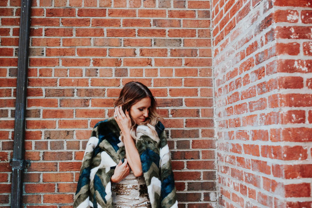 Chevron Faux Fur Coats