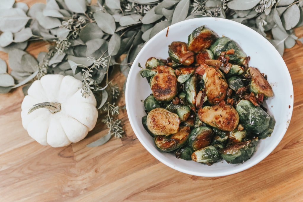 rosé infused brussels sprouts